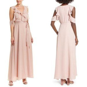 NWT BB Dakota RSVP Pink Striped Ruffle Maxi Dress